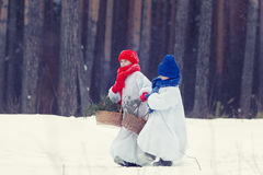 Happy brother and sister in costumes snowman walking in winter forest, Stock Photography