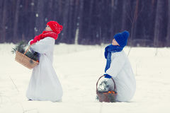 Happy brother and sister in costumes snowman walking in winter forest, Stock Photo