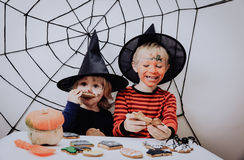 Happy brother and sister on Halloween party Stock Photography