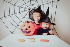 Happy brother and sister on Halloween party Royalty Free Stock Images