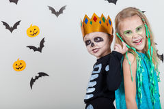 Happy brother and  sister on Halloween party Royalty Free Stock Photos