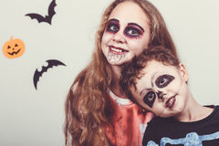 Happy brother and  sister on Halloween party Royalty Free Stock Photo