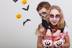 Happy brother and  sister on Halloween party Stock Photos