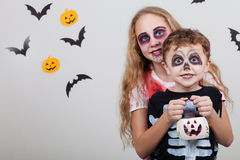 Happy brother and  sister on Halloween party Royalty Free Stock Image