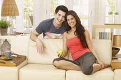 Happy brother and sister at home Royalty Free Stock Photography