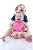 Happy Brother and Sister Hugging Royalty Free Stock Image