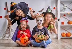 Children on Halloween Stock Photo