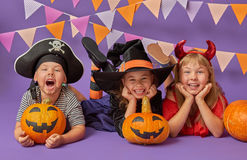 Kids at halloween Stock Images
