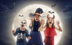 Children on Halloween stock images