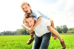 Happy brothers stock image