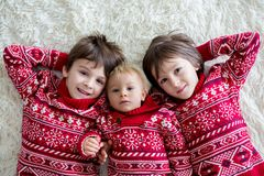 Happy brothers, baby and preschool children, hugging at home on white blanket, smiling. Shot from above stock photography