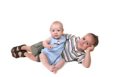 Happy Brothers Interacting Together Stock Images