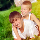 Happy Brothers outdoor Royalty Free Stock Photos
