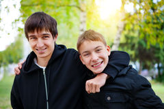 Happy Brothers outdoor Stock Image