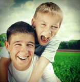 Happy Brothers Outdoor Stock Photo