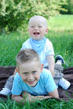 Happy brothers outdoors in summer Stock Photography