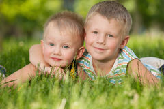 Happy brothers in the park Stock Photo