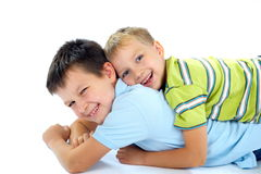 Happy brothers playing Royalty Free Stock Images