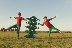 Happy brothers are playing with paper tree. Happy fun brothers are playing with paper Christmas tree, outdoor Stock Image