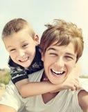 Happy Brothers Portrait Stock Photo
