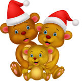 Happy brown bear cartoon family wearing red hat Royalty Free Stock Photos