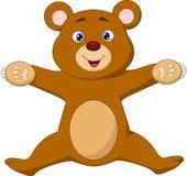 Happy brown bear cartoon jumping Royalty Free Stock Photo