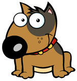 Happy brown bull terrier sitting. Smiling brown bull terrier dog cartoon character Stock Photo