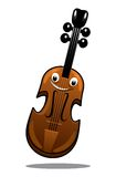 Happy brown cartoon wooden violin. With a smiling face and shadow for music design, isolated on white Royalty Free Stock Images