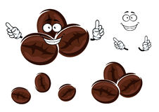 Happy brown coffee beans character Stock Photography