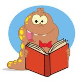 Happy brown and yellow spotted worm reading a book Stock Images