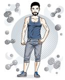 Happy brunet young adult man with beard and mustaches is standin Royalty Free Stock Images