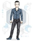 Happy brunet young adult man standing. Vector character wearing. Casual clothes like jeans and cotton shirt Royalty Free Stock Photography