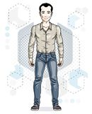 Happy brunet young adult man standing. Vector character wearing. Casual clothes like jeans and cotton shirt Royalty Free Stock Photos