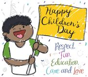 Happy Brunette Kid Celebrating Children`s Day with Flag and Confetti, Vector Illustration. Happy brunette boy in doodle style, holding a flag with greeting Stock Photos