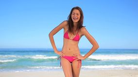 Happy brunette enjoying the sun Royalty Free Stock Photo