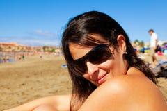 Happy Brunette Girl Stock Photo