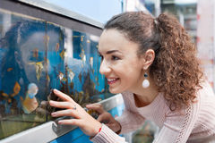 Happy brunette girl looking at tropical fish Stock Images