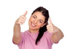Happy brunette girl saying Ok Stock Photo