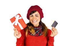 Happy brunette holding gift and cards Royalty Free Stock Photo