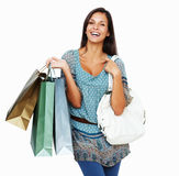 Happy brunette holding shopping bags Royalty Free Stock Photos