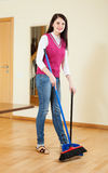 Happy brunette housewife with  dustpan and brus Stock Image
