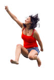 Happy brunette jumping over white Royalty Free Stock Image