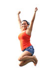 Happy brunette jumping on trampoline Stock Photo