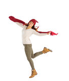 Happy brunette leaning and holding his scarf Royalty Free Stock Photography