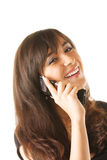 Happy brunette with mobile Stock Image