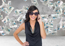 Happy brunette phoning Royalty Free Stock Photography