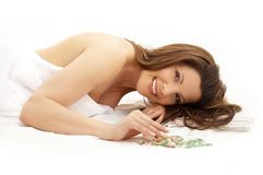 Happy brunette in spa Royalty Free Stock Images