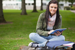 Happy brunette student using tablet sitting on bench Royalty Free Stock Image