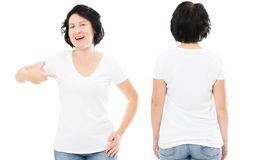 Happy brunette in stylish white t-shirt set or collage, middle-age woman in tshirt mock up stock photos