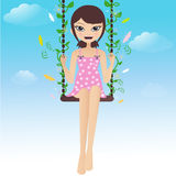 Happy Brunette Swinging With Butterflies Stock Photography